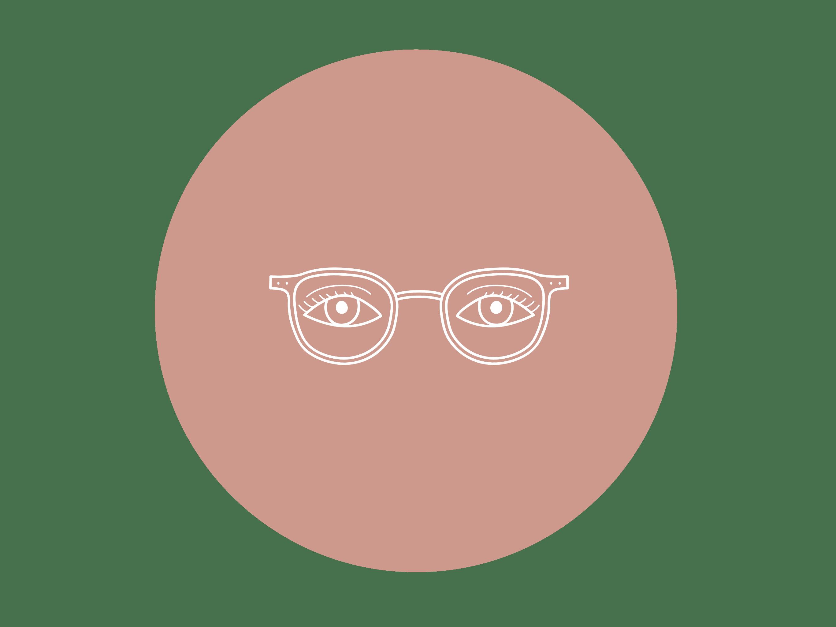 icone lunettes sur fond rose